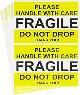 Tag-A-Room Fragile Stickers 2.5'' x 4'' 50 Labels, Fragile - Please Handle with Care - Do Not Drop Thank You Moving Labels Stickers Yellow Fragile