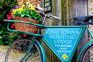 Lacock village photograph a photographic print of an old bike basket of Pansies Lacock Village Wiltshire UK landscape photo color picture fine art print or poster photography gift present (24