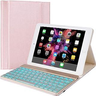 iPad Keyboard Case Compatible with iPad 9.7 2018 (6th Gen) / iPad 2017 (5th Gen) / iPad Pro 9.7 / iPad Air 2 & 1, BT 7 Color Backlit Keyboard, Leather Folio Detachable Keyboard Cover (9.7, Rose Gold)