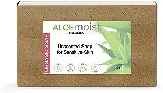 Aloemoist Organic Soap Bar   Body Soap, Hand Soap, Face Wash, Shampoo Bar   Unscented Bar Soap for Sensitive Skin with Vir...