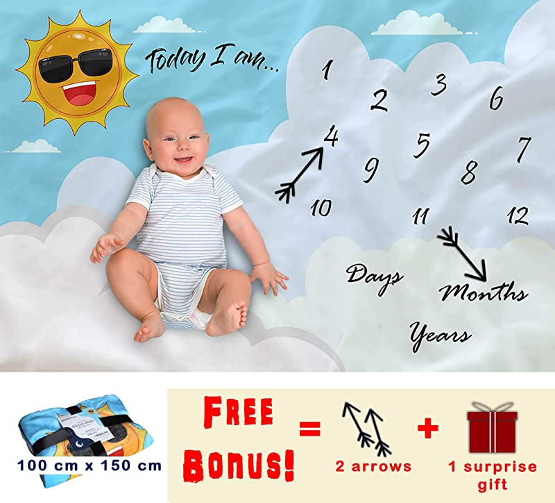 Premium Fleece Baby Milestone Blanket Double Sided Unisex Design Monthly Milestone Blanket With 2 Crowns Infant Newborn Baby Swaddling Month Blanket For Photography Choose Your Color White