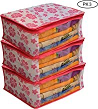 Fancy Walas Non-Woven Storage Bags Saree Cover with Zip and Cloth Organizer for Wardrobe Combo, 3 Pieces