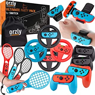Paquete de accesorios de fiesta Orzly para Nintendo Switch Console con controladores y ruedas de carreras, bandas de bail...