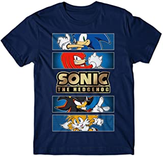 Sonic The Hedgehog Gold Foil Logo Tee Shirt for Kids w/Knuckles, Shadow, Miles