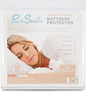 Pure Siesta Organic Cotton 5-Sided Mattress Protector Hypoallergenic Dust Mite Proof Waterproof Cover