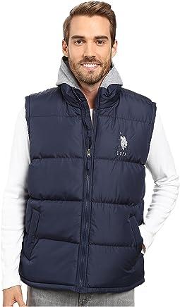 Basic Puffer Vest with Fleece Hood