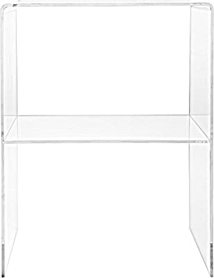 Modern Design Clear Acrylic Decorative End Table/Home Decor Display Nightstand w/ 2 Shelves - 10mm
