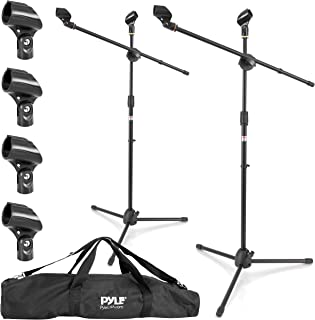 Universal Adjustable Tripod Microphone Stand - Pair of Heavy Duty Lightweight Professional Compact Extendable Stage Studio Floor Standing Boom Mic Holder w/ Carry Bag, 5/8
