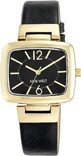 nine west negro reloj con correa color dorado moderno funda de TV con forma
