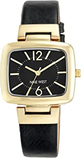 Nine West Black Strap Watch with Goldtone Modern Shaped TV Case