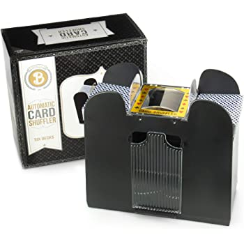 Brybelly 6 Deck Automatic Card Shuffler - Battery-Operated Electric Shuffler - Great for Home & Tournament Use for Classic Poker & Trading Card Games