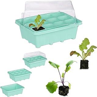 Relaxdays Semillero de Germinación con 12 Compartimentos para Terraza, Jardín e Interior, Verde, 18,5 x 14,5 cm