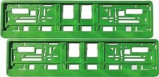Satz (2 Stück) Kennzeichenhalter   GRÜN   Premiumqualität!   inklusive 8 Befestigungsschrauben