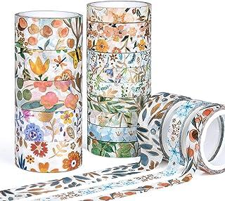Ruban Adhésif Décoratif, Vordas 18 Rouleaux de Scotch Decoratif Masking Tape, Masking Tape Fleur pour Doré, Washi Tape pou...