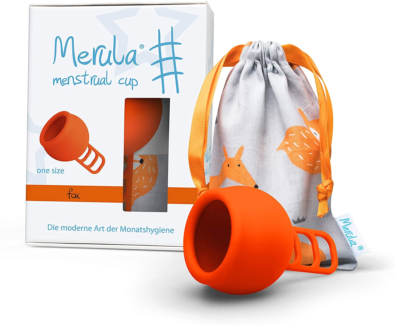 Merula Cup fox (naranja) - Tamaño único copa menstrual de silicona de grado médico