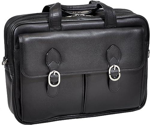 "2021 McKlein, L Series, Hyde Park, Top Grain Cowhide Leather, 15"" high quality Leather Double Compartment Laptop Briefcase, Black 2021 (15735C) sale"