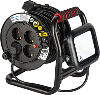 Electraline 49213, Kabeltrommel Professionel und Fester Platte, H05 VV-F 3G1.5 mm, 15M Kabel-Kabelrolle mit 4 Schuko-Steckdosen und mit 10W LED Projektor, Schwarz