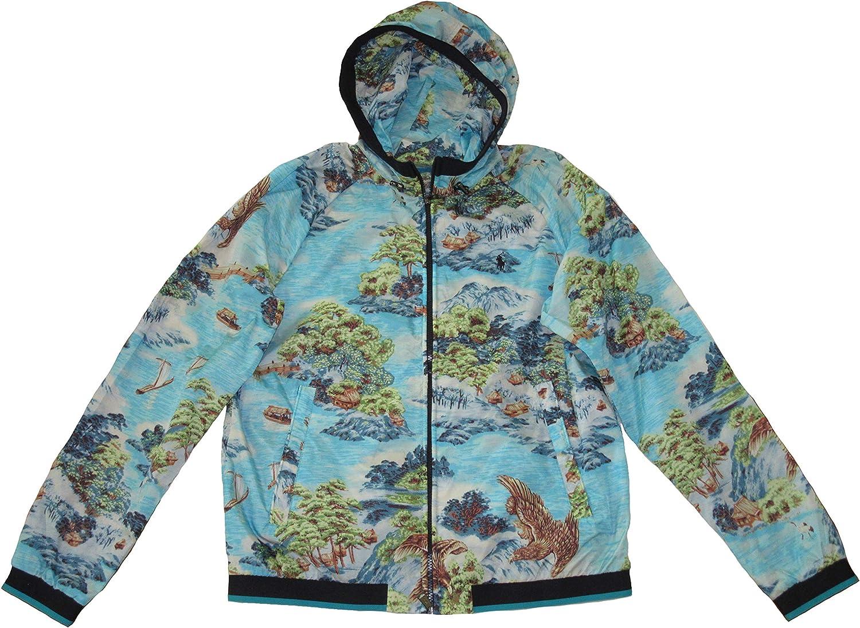 Ralph Lauren Polo Mens Ocean Landscape Hooded Lightweight Jacket Blue