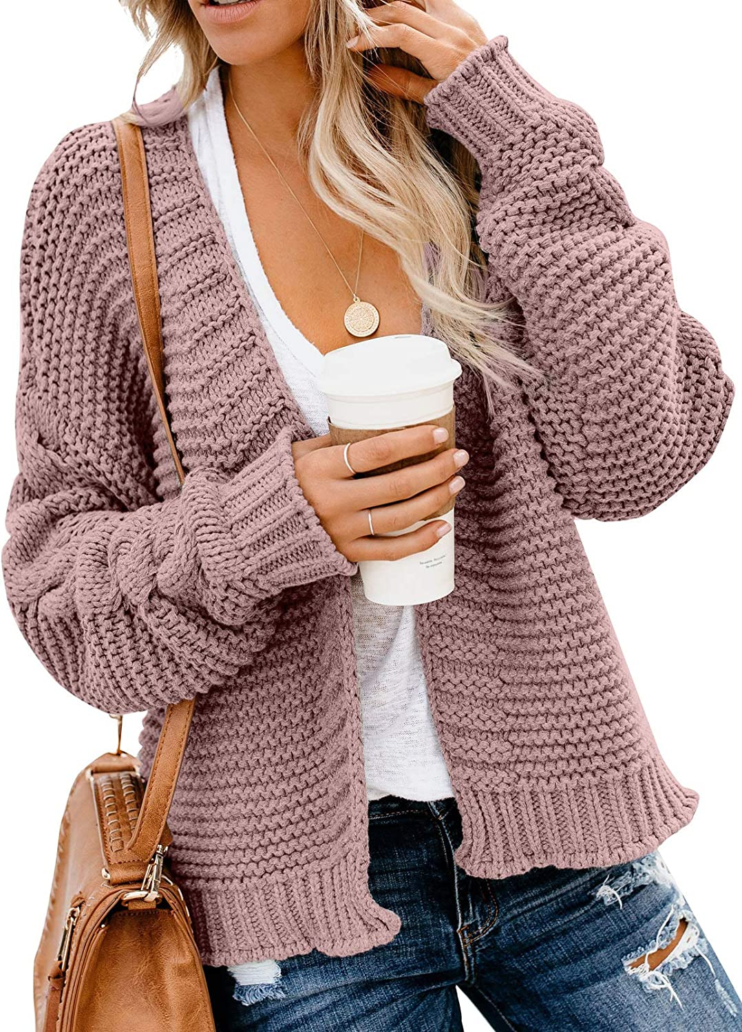 Dokotoo Womens Open Front Long Sleeve Chunky Knit Cardigan Sweaters Loose Outwear Coat