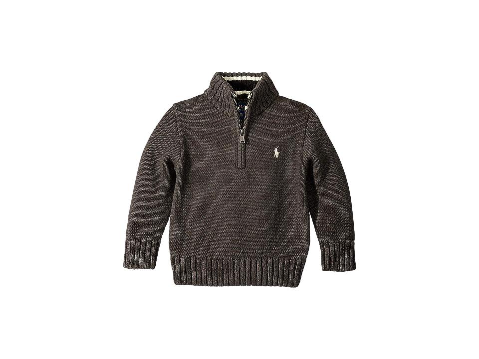 Polo Ralph Lauren Kids Cotton 1/2 Zip Pullover (Toddler) (Dark Charcoal Heather) Boy