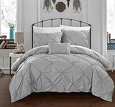Chic Home Daya 4 Piece Duvet Cover Set Ruffled Pinch Pleat Design Embellished Zipper Closure Bedding, Queen, Silver
