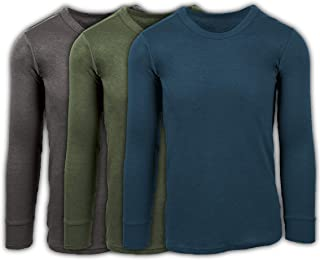 Men's 3 Pack Premium Cotton Top Base Layer Long Sleeve Crew Neck Shirt