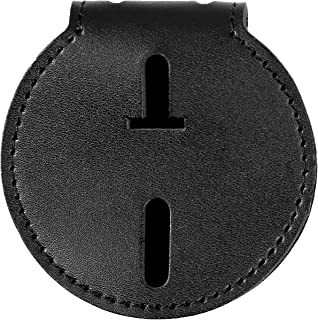 Sheriff Badge Holder, Made of Cowhide, Universal, Black, Deputy Badge Holder, Metal Clip and Chain Included
