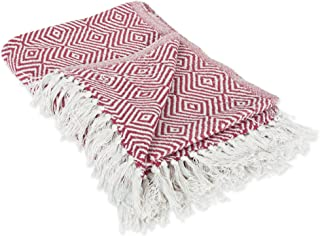 DII 100% Cotton Geometric Daimond Throw for Indoor/Outdoor Use Camping BBQ's Beaches Everyday Blanket, 50 x 60, Barn Red