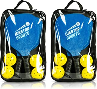 Westop Sports Pickleball Paddle Set - Bundles Include 2-4 Pickleball Paddles, 4-8 Outdoor/Indoor Balls, 1-2 Premium Gear Bags - Best Racket Set for Beginners - Includes eBook w/Rules and Tips