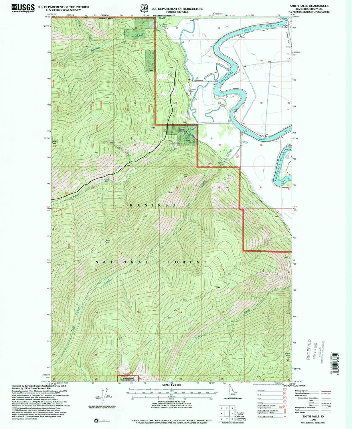 Smith Falls ID topo map, 1 24000 Scale, 7.5 X 7.5 Minute, Historical, 1996, Updated 1999, 26.8 x 22 in