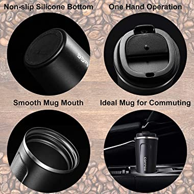 Insulated Coffee Cup, Double Walled Travel Mug, Thermos Cup,Stainless Vacuum Cup with Leakproof Flip Double Buckle for Keep H
