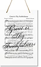"""LifeSong Milestones Sheet Music Wall Art Plaque Gifts with Hymn and Song Lyrics - 8"""" x 12"""" Wooden Hanging Rope Sign (Great is Thy Faithfulness)"""