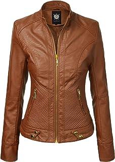 Lock and Love LL WJC747A Womens Dressy Vegan Leather Biker Jacket L Camel