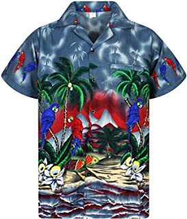 680510c9 Funky Hawaiian Shirt Men Shortsleeve Frontpocket Hawaiian-Print Parrot  Flowers