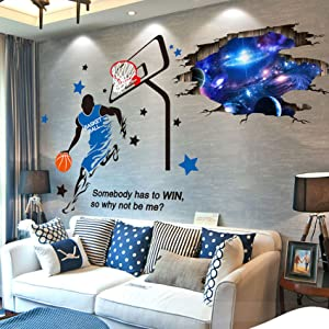 Amoda 3D Out Space Wall Decal Basketball Fans Wall Decor Removable Basketball Wall Stickers Art Wall Mural Decals for Tenn Girl Kids Bedroom Ceiling Living Room Decor