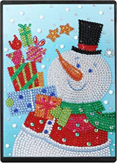 RICUVED DIY 5D Diamond Painting Notebook Cover Kits Special Shaped Pattern Faux Leather Ruled Journal Sketchbook Premium Thick Paper A5 Christmas and Snowman
