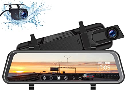 """TOGUARD Backup Camera 10"""" Mirror Dash Cam, Dash Cam Front and Rear Full Touch Screen Video Streaming Rear View Mirror Camera, Night Vision Waterproof 1080P Rear Camera"""