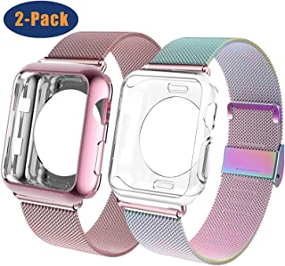 OHCBOOGIE Compatible with Apple Watch Band 38mm 40mm 42mm 44mm with Case, Wristband Loop Replacement Band Compatible Iwatch Series 5,Series 4,Series 3,Series 2,Series 1,2pack