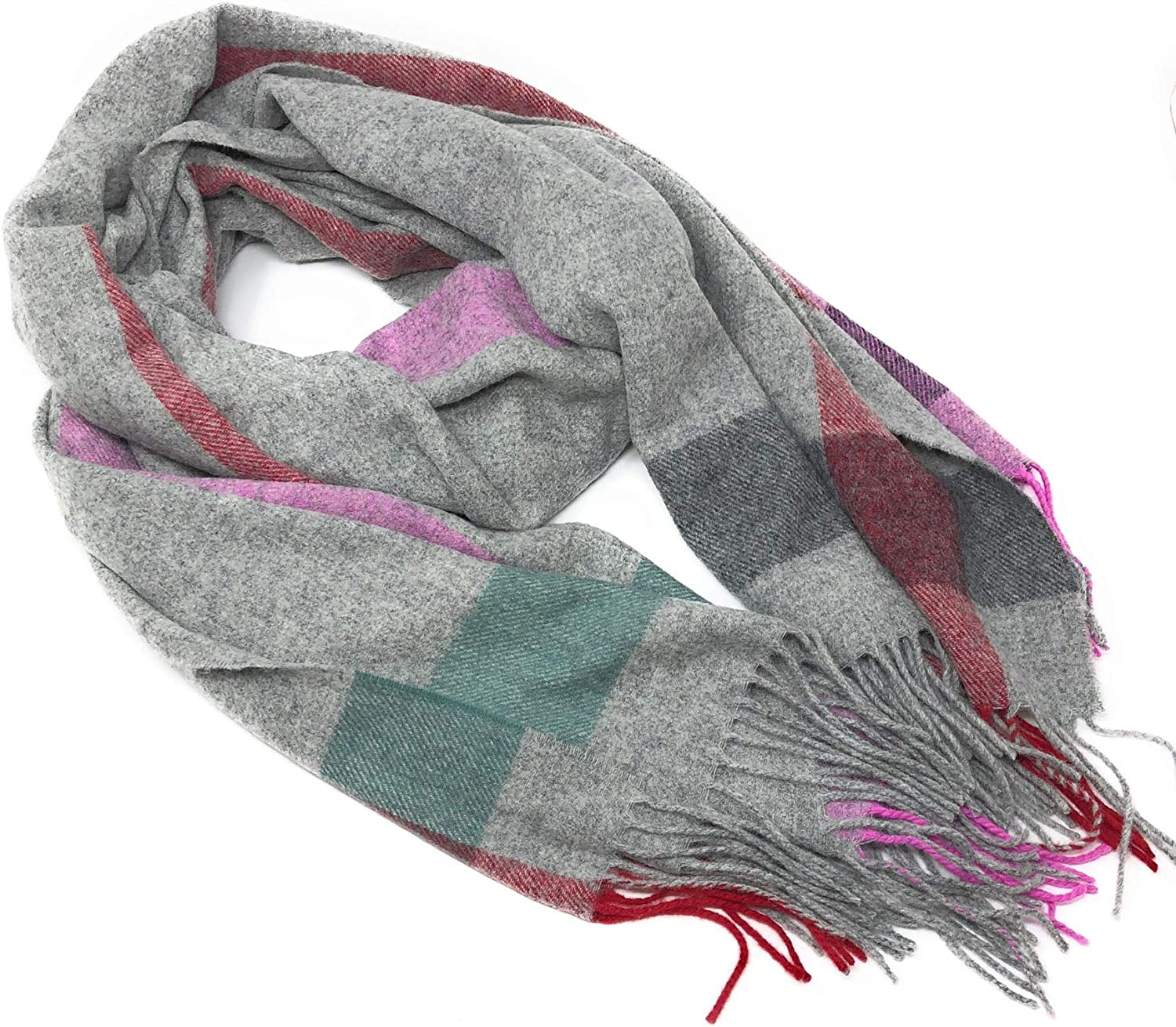 100% Lambswool Oversized Blanket Style Scarf Wrap  Grey Pink & Red Check  Made in Scotland
