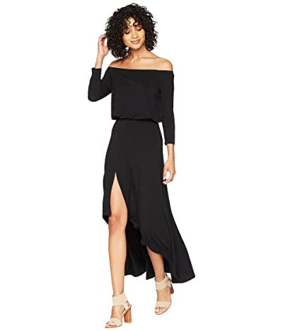 American Rose Kai 3/4 Sleeve Off the Shoulder Dress (Black) Women