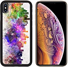Liili Premium Apple iPhone Xs Aluminum Backplate Bumper Snap Case Image ID: 28715134 Houston Skyline in Watercolor Background