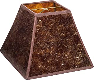 Upgradelights Mica 8 Inch Craftsman Style Square Washer Lampshade in Amber