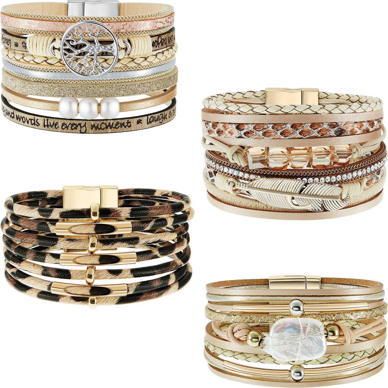 Hicarer 4 Pieces Feather Wrap Bracelet Leopard Bracelets Boho Leather Cuff Bracelets