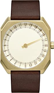 slow Jo 18 - Swiss Made one-hand 24 hour watch - Gold with dark brown leather band