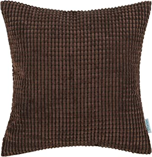 CaliTime Cozy Throw Pillow Cover Case for Couch Sofa Bed Comfortable Supersoft Corduroy Corn Striped Both Sides 18 X 18 Inches Coffee