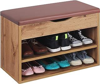 RICOO WM032-EW-B Banco Zapatero 60x42x30cm Armario Interior con Asiento Organizador Zapatos Mueble recibidor Perchero Made...