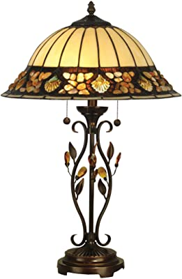 Dale Tiffany TT90172 Pebblestone Table Lamp, Antique Golden Sand and Art Glass Shade