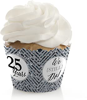 We Still Do - 25th Wedding Anniversary Party Decorations - Party Cupcake Wrappers - Set of 12
