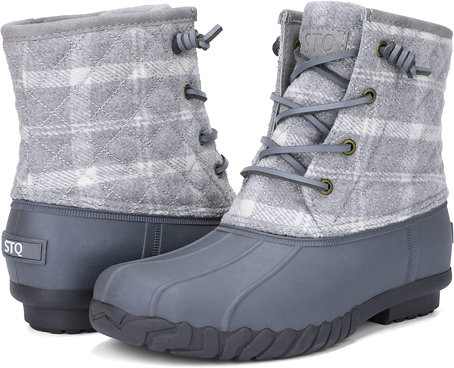 STQ Duck Boots for Women Waterproof Winter Boots Quilted Snow Boots