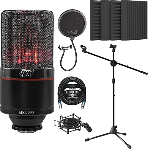"""2021 MXL sale 990 Blaze Cardioid Condenser Microphone outlet online sale for Vocals and Guitars Bundle with Blucoil 20-FT Balanced XLR Cable, Pop Filter Windscreen, Adjustable Microphone Tripod Stand, and 4x 12"""" Acoustic Wedges online"""